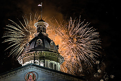 As part of the Famously Hot New Years Eve celebration in Columbia, SC, fireworks erupt as 2014 turns into 2015.