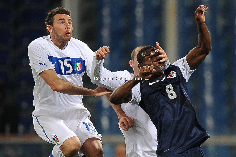 Foto Fabio Ferrari - LaPresse<br /> 29 02 2012 Genova ( Italia )<br /> Sport Calcio<br /> Italia vs Usa<br /> Partita amichevole tra Italia vs Usa - Stadio Luigi Ferraris di Genova.<br /> Nella foto: Barzagli, Chiellini<br /> <br /> photo Fabio Ferrari - LaPresse<br /> 29 02 2012 Genova ( Italia )<br /> Sport Calcio<br /> Italia vs Usa<br /> Friendly match Italia vs Usa - Luigi Ferraris  Stadium of Genova.<br /> in the pic:Barzagli, Chiellini