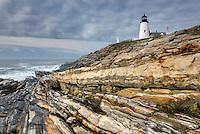 Pemaquid Point Lighthouse on striated metamorphic rocks of Pemaquid Point, Bristol Maine