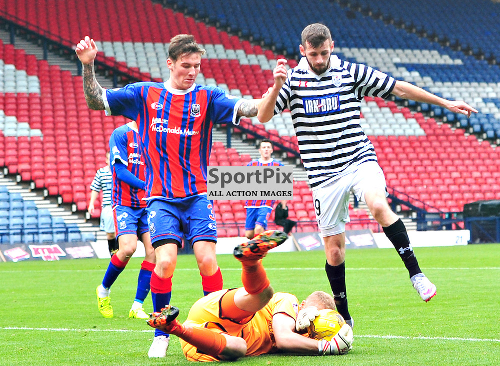 Elgin Keeper Mark Hurst saves at the feet of Queens John Carter......(c) BILLY WHITE | SportPix.org.uk