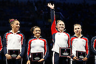 Urbandale's Rachel Gowey waves to the audience as she is introduced as a member of the national team Sunday, June 26, 2016, at the conclusion of the senior women's P&G Gymnastics Championships at Chaifetz Arena in St. Louis. Gowey has now qualified to compete in the Olympic trials next month in San Jose, Calif., for a chance to represent Team USA at the Rio Olympics.