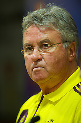 LIVERPOOL, ENGLAND - Wednesday, October 24, 2012: FC Anji Makhachkala's head coach Guus Hiddink during a press conference at Anfield ahead of the UEFA Europa League Group A match against Liverpool. (Pic by David Rawcliffe/Propaganda)