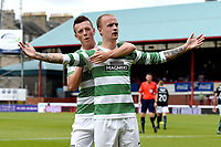 31/09/14 SCOTTISH PREMIERSHIP<br /> DUNDEE v CELTIC <br /> DENS PARK - DUNDEE<br /> Celtic's Leigh Griffiths (right) celebrates with Callum McGregor after levelling the score