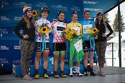 Megan Guarnier (USA) of Boels-Dolmans Cycling Team is accompanied by the other jersey wearer on the podium: Sara Poidevin (CAN) of Rally Cycling in the mountains jersey, Rossella Ratto (ITA) in the best young rider's jersey and Dame Sarah Storey (GBR) of Podium Ambition Pro Cycling in the most combatative rider's jersey after the first, 117 km road race stage of the Amgen Tour of California - a stage race in California, United States on May 19, 2016 in South Lake Tahoe, CA.