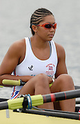 Eton, GREAT BRITAIN,GBR W8+,  Vicki ETIEBET, at the start 2006 World Rowing Championships, 23/08/2006.  Photo  Peter Spurrier, © Intersport Images,  Tel +44 [0] 7973 819 551,  email images@intersport-images.com , Rowing Courses, Dorney Lake, Eton. ENGLAND