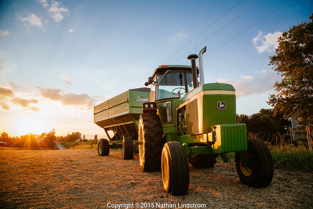 John Deer tractor on a farm in Iowa.<br />
