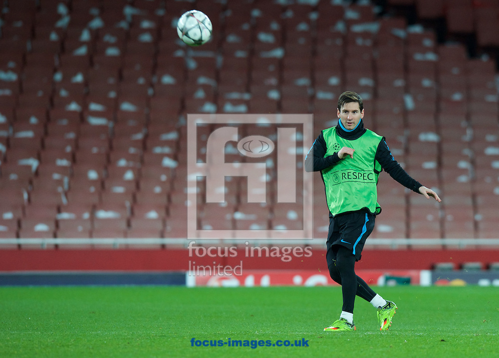 Lionel Messi during the Barcelona training session at the Emirates Stadium, prior to their Champions League match against Arsenal tomorrow. London, England.<br /> Picture by Alan Stanford/Focus Images Ltd +44 7915 056117<br /> 22/02/2016