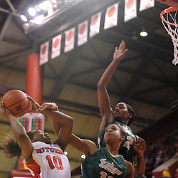 Jan 31, 2009; Piscataway, NJ, USA; Rutgers guard Epiphanny Prince (10) is fouled on a shot by South Florida forward Porche Grant (11) and center Brittany Denson (32) during the closing minutes of South Florida's 59-56 victory over Rutgers in NCAA women's college basketball at the Louis Brown Athletic Center