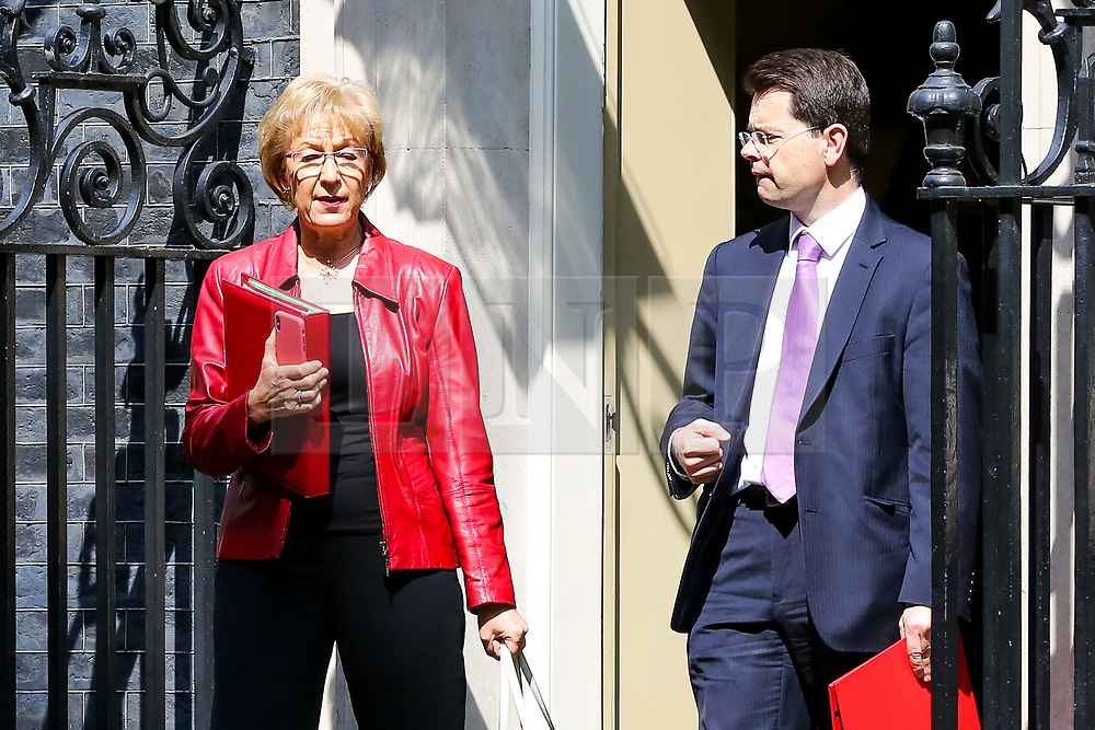 © Licensed to London News Pictures. 30/04/2019. London, UK. Andrea Leadsom - Lord President of the Council and Leader of the House of Commons( L) and James Brokenshire - Secretary of State for Housing Communities and Local Government  (R)  departs from No 10 Downing Street after attending the weekly Cabinet meeting. Photo credit: Dinendra Haria/LNP