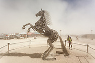 Rearing Horse by: Barry Crawford from: Elko, NV year: 2018 (This piece was incredible. The handles on the fend turn and as you turn them subtle pieces of the horse would move. If you look at there is no visible connection from the handles to the piece. Absolutely outstanding piece of work.) My Burning Man 2018 Photos:<br />