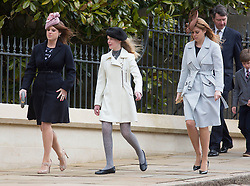 WINDSOR - UK - 27th Mar 2016: HM Queen Elizabeth, accompanied by HRH The Duke , The Duke and members of the royal family attends the annual Easter Sunday service at St George's Chapel in the grounds of Windsor Castle.<br /> <br /> Prince Edward, Sophie Countess of Wessex, Princess Eugenie, Autumn Phillips, Lady Louise, Peter Phillips, Princess Beatrice.<br /> Photograph by Ian Jones.