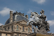 France. Paris. 1st district. statue  in the louvre museum courtyard