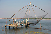 India, Kerala backwaters, Traditional fishing technique a net is lowered into the water and then lifted when a school of fish passes above the net