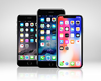 Apple iPhone X on right, large screen smartphone, and similar to iPhone 8 and 8 plus, iPhone 7 - left, iPhone 7 Plus phablet in the middle, three modern smartphones of different sizes isolated on light gray studio background