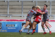 Junior Sa'U for Salford Reds during the Betfred Super League match between Salford Red Devils and Catalan Dragons at the AJ Bell Stadium, Eccles, United Kingdom on 30 March 2018. Picture by George Franks.