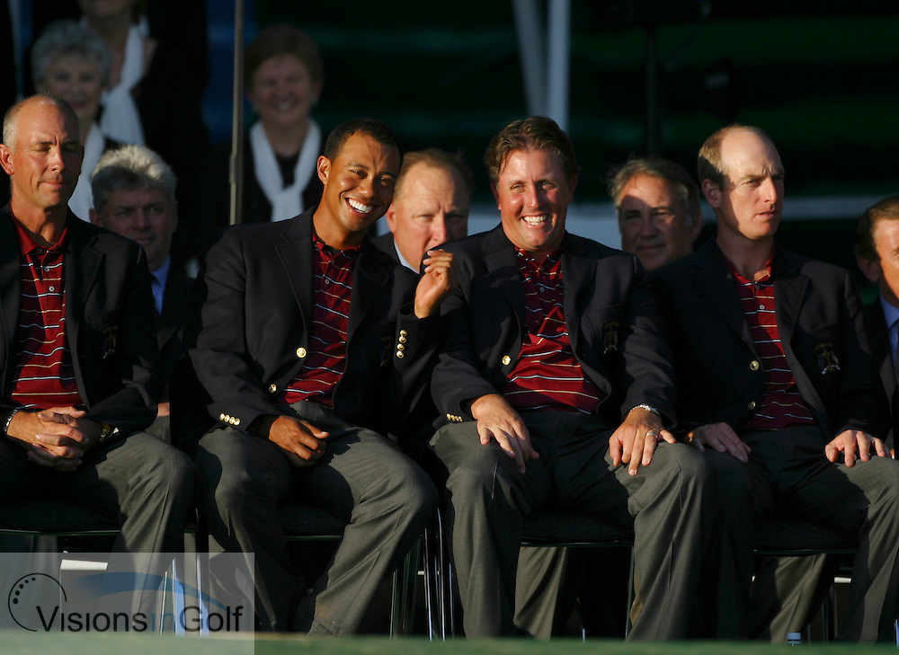 Tiger Woods and phil mickelson laughing and jim furyk and tom lehman at the closing ceremony<br /> on the final day at the 36th Ryder Cup Matches 2006, K Club, Ireland, 060924<br /> Picture Credit: Mark Newcombe / visionsingolf.com