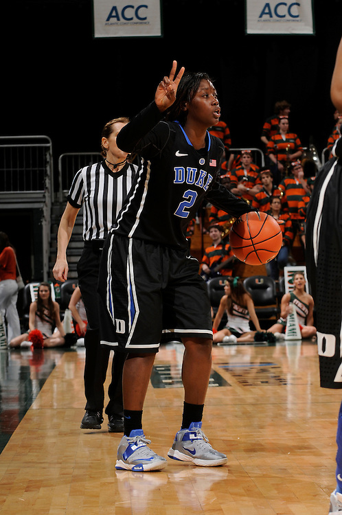 February 28, 2013: Alexis Jones #2 of Duke in action during the NCAA basketball game between the Miami Hurricanes and the Duke Blue Devils at the Bank United Center in Coral Gables, FL. The Hurricanes defeated the Blue Devils 69-65.