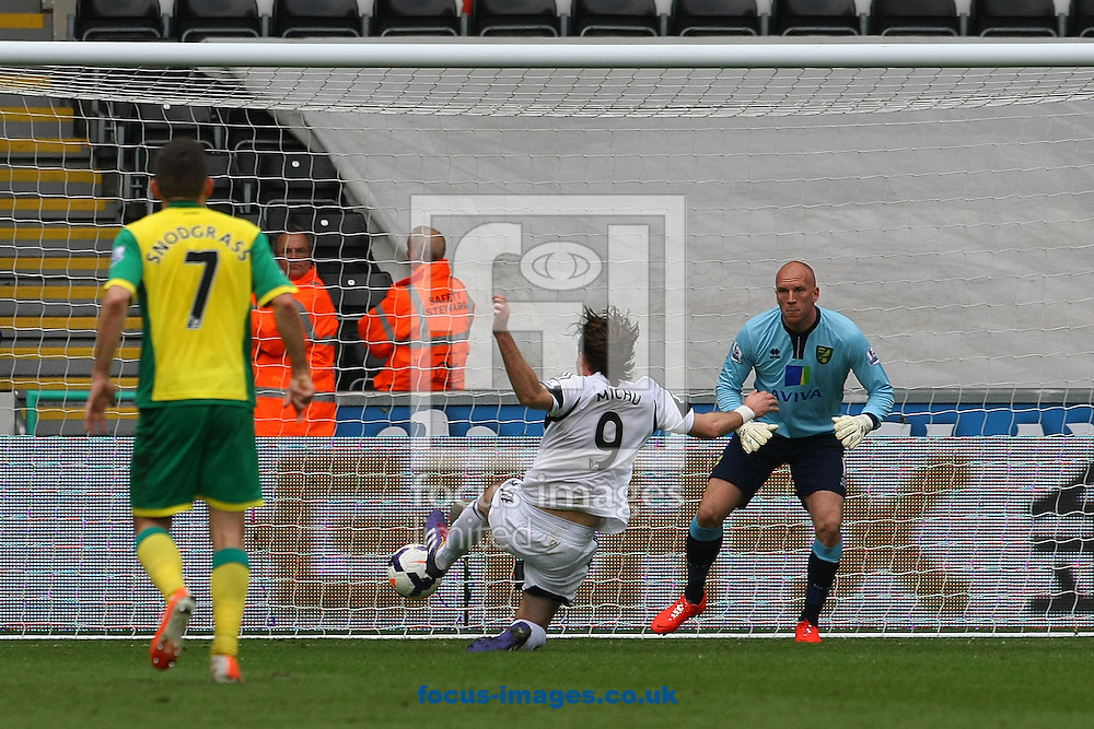 Michu of Swansea has a shot on goal but narrowly misses during the Barclays Premier League match at the Liberty Stadium, Swansea<br /> Picture by Paul Chesterton/Focus Images Ltd +44 7904 640267<br /> 29/03/2014