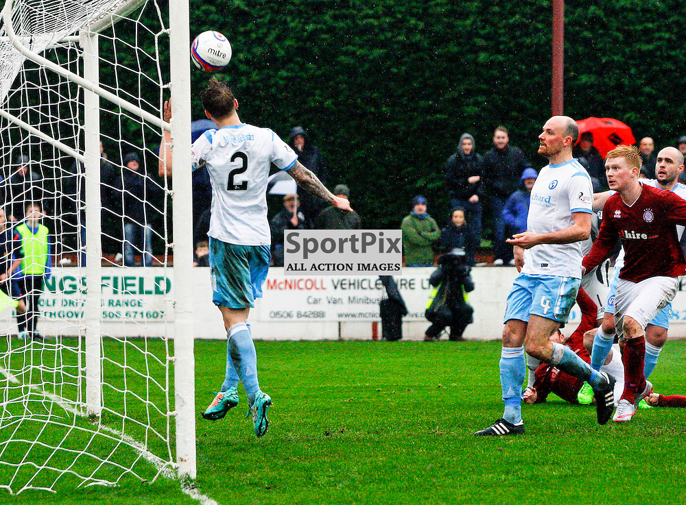 Michael Travis clears off the line for Forfar as Linlithgow put pressure on the visitors <br /> During the William Hill Scottish Cup match at Prestonfield Linlithgow