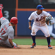 South Korean Shin-Soo Choo, Cincinnati Reds, beats the throw as he slides into second base as Ruben Tejada, New York Mets, fields during the New York Mets V Cincinnati Reds Baseball game at Citi Field, Queens, New York. 22nd May 2012. Photo Tim Clayton