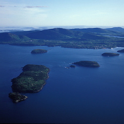 Acadia N.P., ME. Aerial. Porcupine Islands in Frenchman Bay.