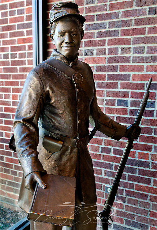 A bronze statue commemorating the end of slavery is part of an exhibit at the Civil War Interpretive Center in Corinth, Miss. The Interpretive Center, operated by the National Park Service as a unit of Shiloh National Battlefield, features interactive exhibits explaining Corinth's role in the war and the toll the fighting took on the Confederacy.