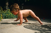A baby girl is crawling on all-fours along her parents' pavement, in a suburban London back garden. Her body weight is spread on two legs and one arm while she moves along confidently, placing her other hand on the warm surface, one summer day. The infant is a approximately 10 months and is gaining strength from her legs which will soon be strong enough to stand and eventually walk. The summer sun is on her back and the shadow of garden chair furniture is on the path alongside her. She has a contented expression on her face as if her little adventure in a big outside, wider world is for her to explore.