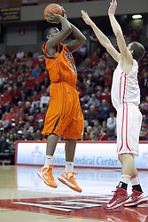 16 December 2012:  Tauron Bailey shoots over Nick Zeisloft during an NCAA men's basketball game between the Morgan State Bears and the Illinois State Redbirds (Missouri Valley Conference) in Redbird Arena, Normal IL