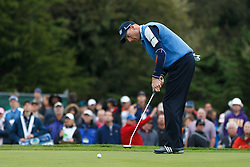 Feb 11, 2012; Pebble Beach CA, USA; Jim Furyk putts for birdie on the third hole during the third round of the AT&T Pebble Beach Pro-Am at Pebble Beach Golf Links. Mandatory Credit: Jason O. Watson-US PRESSWIRE