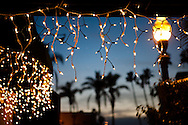 Holiday lights and palm trees typify La Jolla in December.