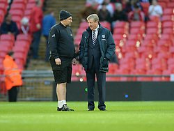 England Manger Roy Hodgson inspects the pitch prior to kick off with a Groundsman.  - Photo mandatory by-line: Alex James/JMP - Mobile: 07966 386802 - 15/11/2014 - SPORT - Football - London - Wembley - England v Slovenia - EURO 2016 Qualifier