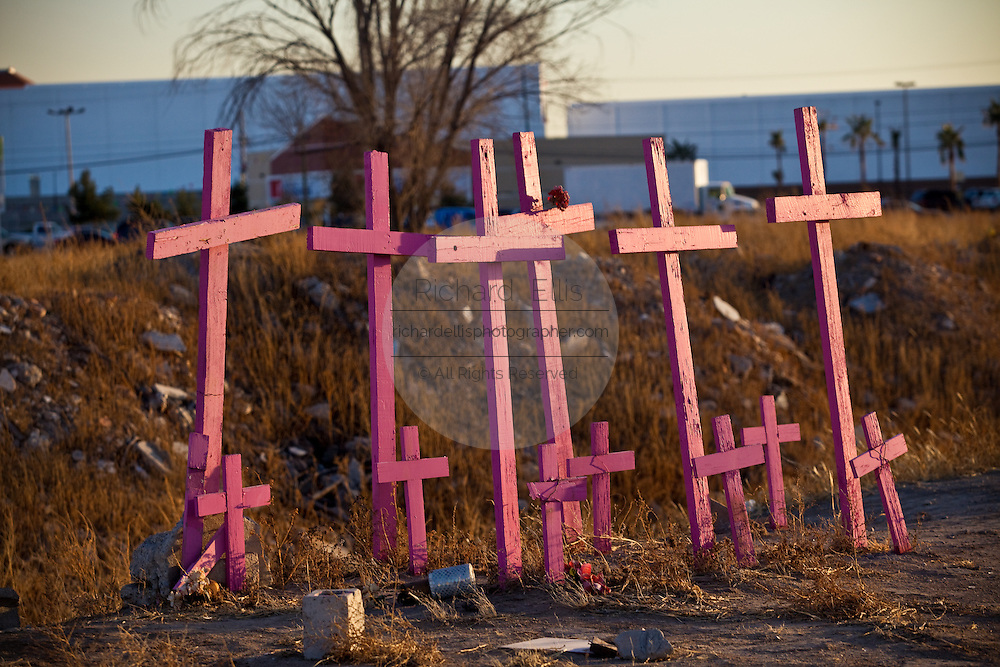 A field of crosses memorialize the spot in Juarez, Mexico January 17, 2009 where the bodies of murdered women were found in 2001. The memorial now represents all the people killed in violence in the city as a drug war between two cartels has killed more than 40 people since the start of the year. More than 1600 people were killed in Juarez in 2008, making Juarez the most violent city in Mexico.    (Photo by Richard Ellis)