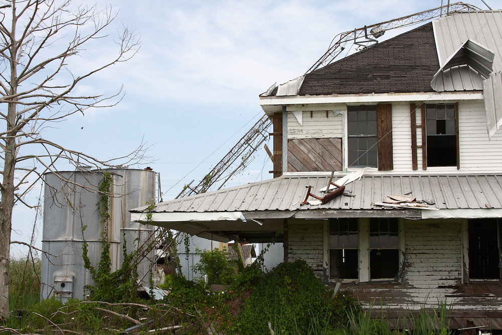 Detail of Hurricane Damage To Bar Pilots House, Pilottown, LA