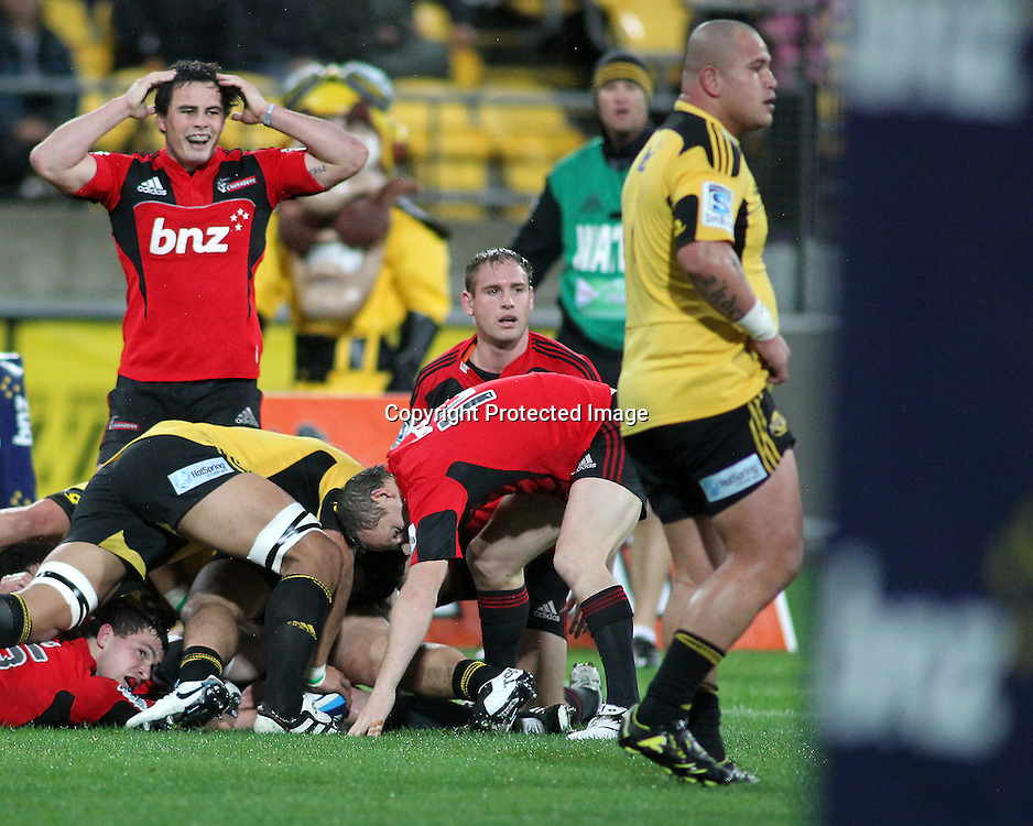 Crusader's Zac Gilford & Andy Ellis react to a ref's call. Super Rugby - Crusaders v Hurricanes at Westpac Stadium, Wellington, New Zealand on Saturday 18th June 2011. PHOTO: Grant Down / photosport.co.nz