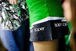 Cheerleader during ice-hockey match between HDD Tilia Olimpija and EHC Liwest Black Wings Linz in 51st Round of EBEL league, on Februar 5, 2012 at Hala Tivoli, Ljubljana, Slovenia. (Photo By Matic Klansek Velej / Sportida)