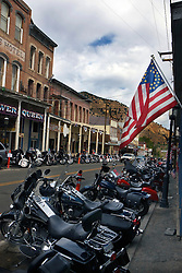 Motorcycles lined up in front of store fronts in Virginia City, Nevada, America's largest National Historical Landmark.