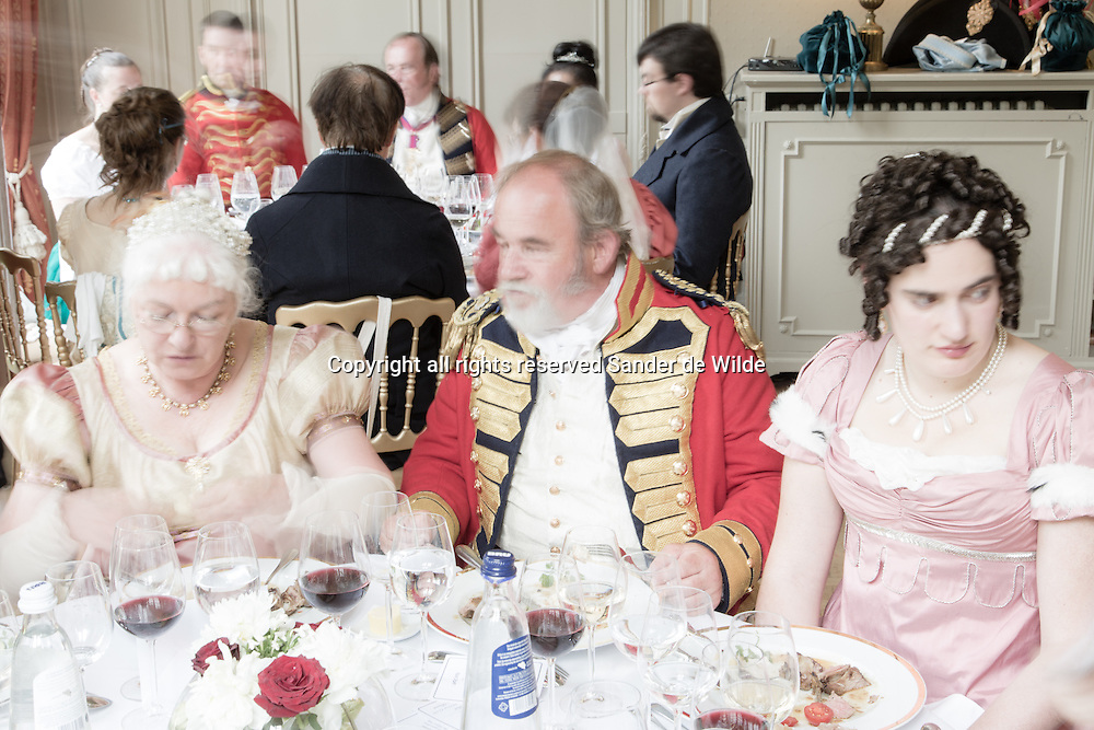 Brussels Belgium 17 June 2015. <br /> The Duchess of Richmond's ball was re-enacted as on 15 June 1815, the night before the Battle of Quatre Bras. Organized by Charlotte, Duchess of Richmond wife of Charles Lennox, 4th Duke of Richmond,who  was in command of a reserve force in Brussels. On that very night the allied stopped dancing to go to Quatre Bras to fight Napoleon's army. buy prints in BE from http://www.oypo.be/E5693BD608D5B54A