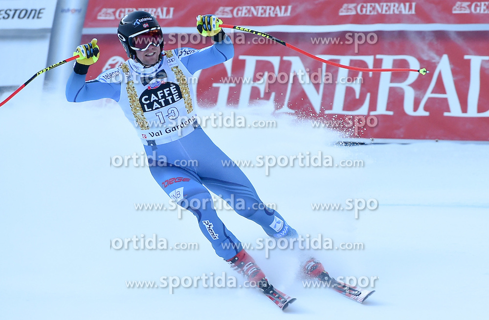 16.12.2016, Saslong, St. Christina, ITA, FIS Weltcup Ski Alpin, Groeden, Abfahrt, Herren, im Bild Aleksander Aamodt Kilde (NOR) // Aleksander Aamodt Kilde of Norway reacts after his run of men's downhill of FIS Ski Alpine World Cup at the Saslong in St. Christina, Italy on 2016/12/16. EXPA Pictures © 2016, PhotoCredit: EXPA/ Erich Spiess