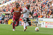Bradford City midfielder Mark Marshall and Sheffield United midfielder Jamal Campbell-Ryce during the Sky Bet League 1 match between Bradford City and Sheffield Utd at the Coral Windows Stadium, Bradford, England on 20 September 2015. Photo by Simon Davies.