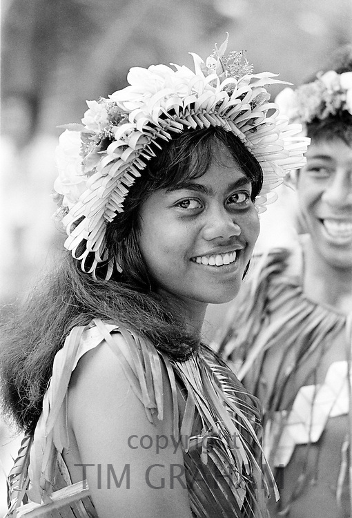 South Pacific islanders in traditional costumes at tribal gathering in Kiribati, Gilbert Islands, South Pacific
