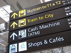Direction signs at Changi Airport in Singapore