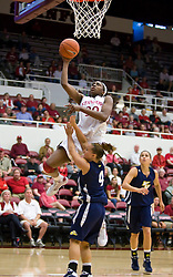 November 1, 2009; Stanford, CA, USA;  Stanford Cardinal forward Nnemkadi Ogwumike (30) shoots over Vanguard Lions guard Sarah Boyd (4) during the first half at Maples Pavilion.