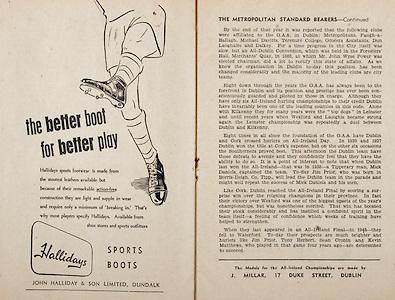 All Ireland Senior Hurling Championship Final,.Programme,.07.09.1952, 09.07.1952, 7th September 1952, .Cork 2-14, Dublin 0-7,.Minor Dublin v Tipperary,.Senior Cork v Dublin, .Croke Park, ..Advertisements, Hallidays Sports Boots,.