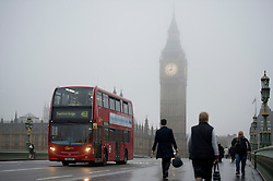 © London News Pictures. 22/10/2012. London, UK.  Fog covered Big Ben clock tower in Westminster, central London on October 22, 2012 . Photo credit: Ben Cawthra/LNP