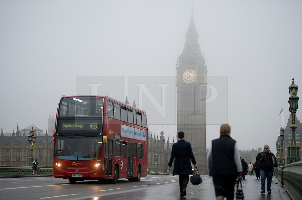 © London News Pictures. 22/10/2012. London, UK.  Fog covered Big Ben clock tower in Westminster, central London on October 22, 2012 . Photo credit: Ben Cawthra/LNP