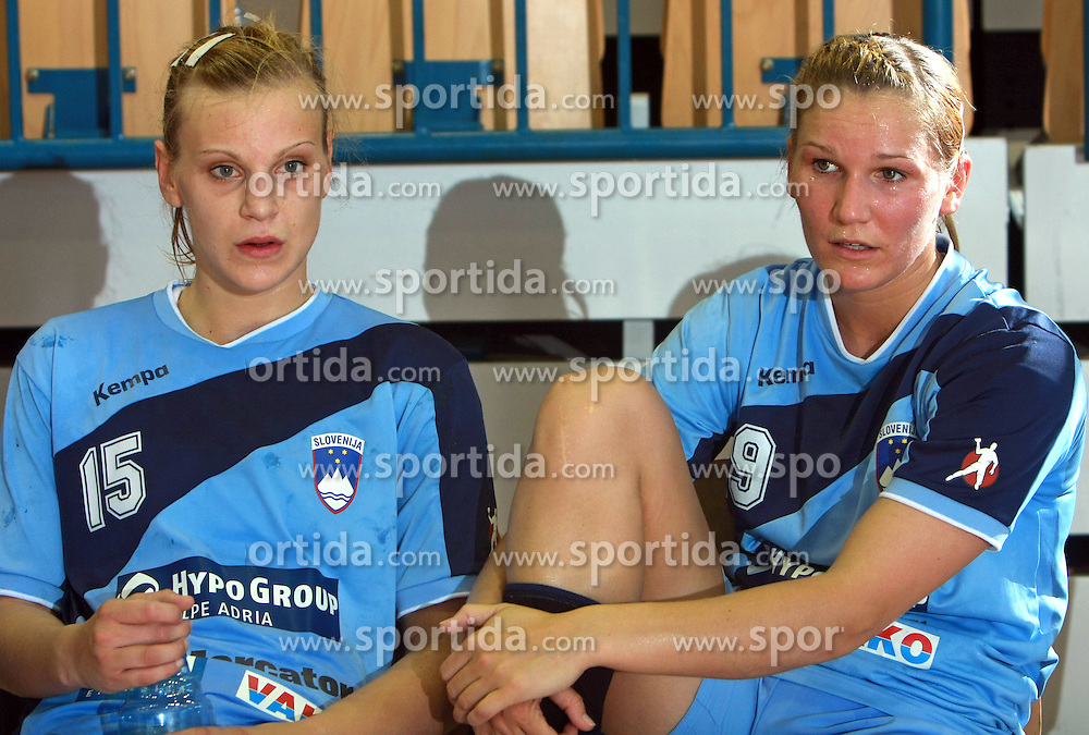 Barbara Varlec and Neli Irman after handball game between women national teams of Slovenia and Belorussia, second qualification game for the European Chamionship 2009, on June 7, 2008, in Arena Zlatorog, Celje, Slovenija. Win of Belorussia, who qualified for EC 2009 in Macedonia. (Photo by Vid Ponikvar / Sportal Images)
