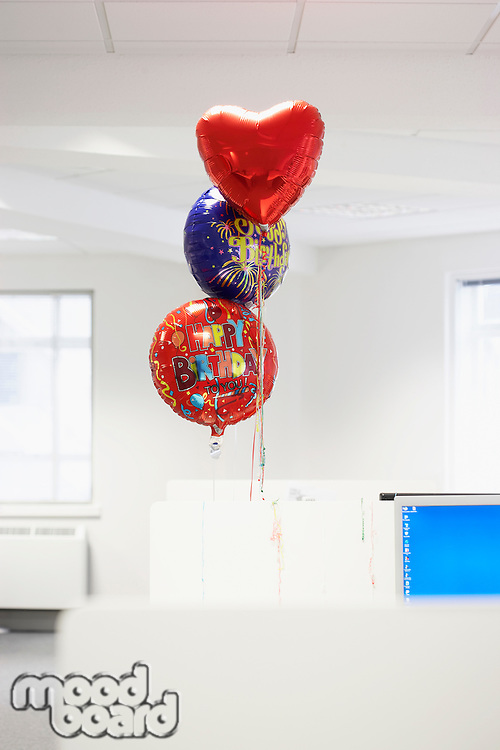 Happy Birthday Balloons at Office Cubicle