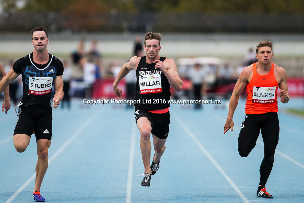 New Zealand sprinter Joseph Millar competing in the mens 100m during the IAAF world Challenge Athletics event at Lakeside Stadium. Saturday 5th March 2016. Copyright Photo. Brendon Ratnayake / www.photosport.nz