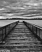 """Kings Beach Pier 1"" - A black and white photograph of the Pier in Kings Beach, on the North Shore of lake Tahoe"