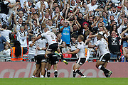 Hull celebrate Jamie Shaul's try during the Challenge Cup Final 2016 match between Warrington Wolves and Hull FC at Wembley Stadium, London, England on 27 August 2016. Photo by Craig Galloway.